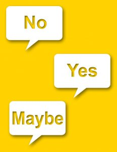no yes and maybe signs on yellow background