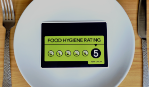 empty white plate displaying green good food hygiene rating card from food standards agency